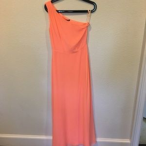 Gianni Bini coral orange one shoulder dress